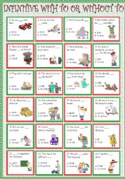 English Worksheet: Infinitive with to or without to