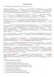 FCE: Reading, Cloze and vocabulary