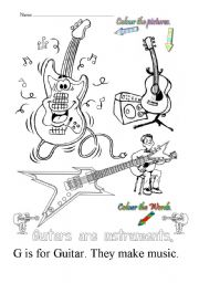 English Worksheets: G is for guitar