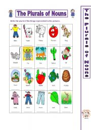 English Worksheets: The Plurals of Nouns - Practice