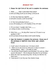 English worksheet: Test (different tenses)