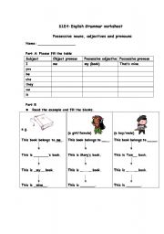 English Worksheet: Possessive nouns, adjectives and pronouns