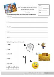 English worksheets: wizard of oz worksheets, page 4