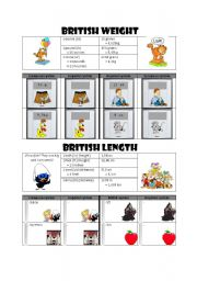 English Worksheets: British weight and length