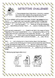 English Worksheets: DETECTIVE CHALLENGE!