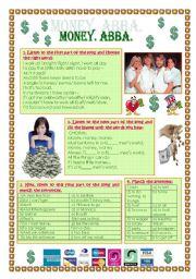 English Worksheet: Song: Abba. Mone, Money