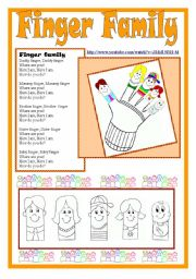 English Worksheets: Finger Family kit