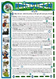 English Worksheet: Edinburgh - Reading Comprehenshion
