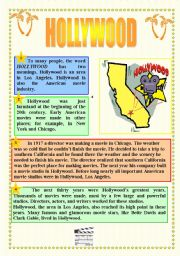 English Worksheet: CINEMA & HOLLYWOOD - READING + ACTIVITIES + GRAMMAR (prepositions) + KEY