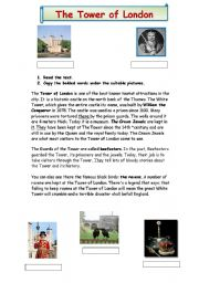 English Worksheet: The Tower of London 2 pages