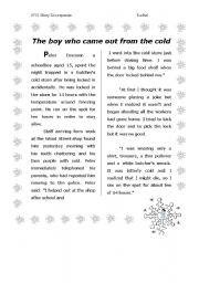 English Worksheets: The boy who came out from the cold