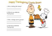 English Worksheet: Happy Thanksgiving Charlie Brown