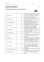 English Worksheets: Event Glossary