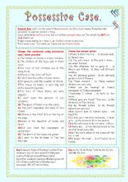 English Worksheet: THE POSSESSIVE CASE.