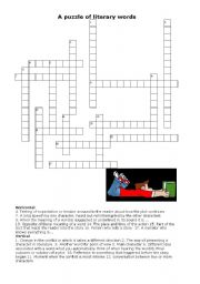 English Worksheets:  LITERARY TERMS  crossword