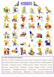 English Worksheet: THE SIMPSONS´ HOBBIES