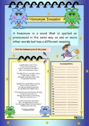 English Worksheet: Homonym Invasion