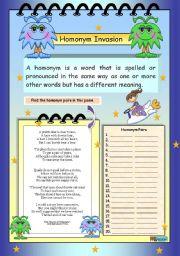 English Worksheets: Homonym Invasion