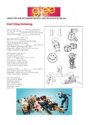 English Worksheet: Glee don�t stop believing