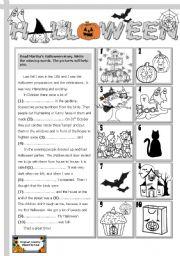 English Worksheet: Halloween story
