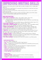 English Worksheet: IMPROVING WRITING SKILLS 1/2
