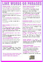 English Worksheet: IMPROVING WRITING SKILLS 2/2: LINK WORDS OR PHRASES