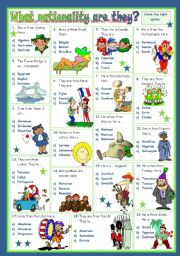 English Worksheet: WHAT NATIONALITY ARE THEY?