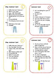 English Worksheets: clothes speaking cards