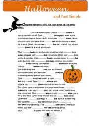 worksheet: Halloween story & SIMPLE PAST