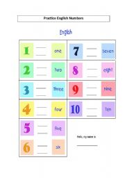 English Worksheets: Writing from 1 to 10
