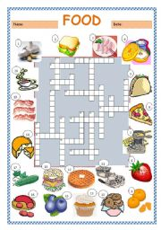 English Worksheet: Food Crossword Puzzle