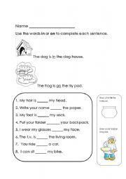 English worksheet: in or on