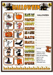 English Worksheets: Halloween matching + rhyme
