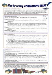 English Worksheet: How to write a persuasive essay