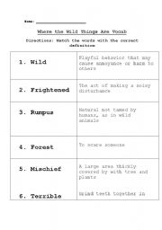 Where the Wild Things Are Vocab