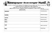 Advanced ESL worksheets: Newspaper Scavenger Hunt
