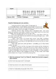 English Worksheet: Fast Food Test