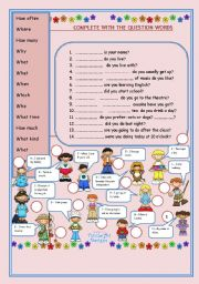 English Worksheet: QUESTION WORDS and ANSWERS