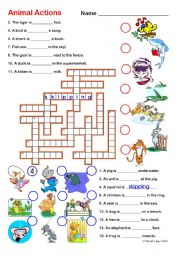 English Worksheet: Animal Actions 1 and 2: Crossword and Word Search with keys