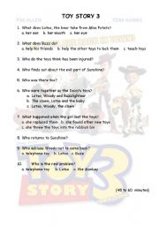 English Worksheet: toy story 3 from 45 to 60 minutes