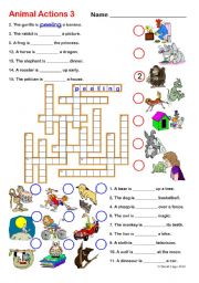 English Worksheet: Animal Actions 3 and 4: Crossword and Word Search with keys