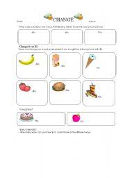 English Worksheets: Change
