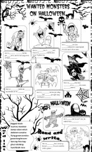 English Worksheet: wanted monsters on halloween