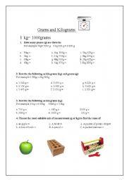 English Worksheets: Weight - Grams and Kilograms