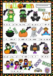 English Worksheet: HALLOWEEN VOCABULARY - MISSING VOWELS
