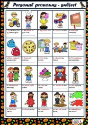 English Worksheet: PERSONAL PRONOUNS - SUBJECT FORM