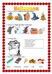 Halloween - prepositions, feelings, colouring, matching