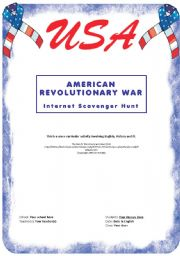 English Worksheet: American Revolutionary War