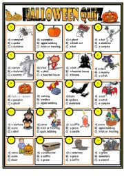 English Worksheet: Halloween quiz  (key included)