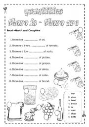 English Worksheet: There is / There are; quantities